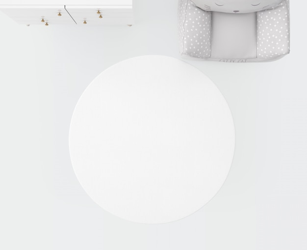 Белый ковер и мягкое сиденье