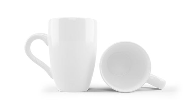 分離された白いセラミックマグカップモックアップ