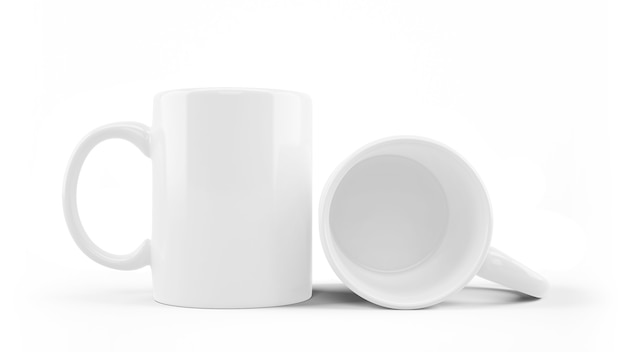 White ceramic mug mockup isolated