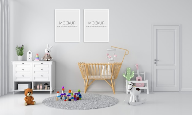 White child bedroom interior for mockup