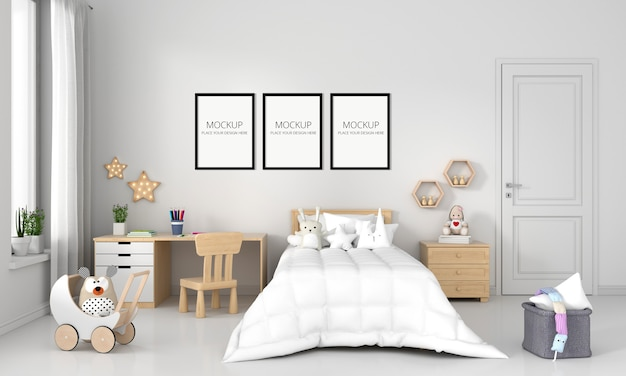 White child bedroom with frame mockup