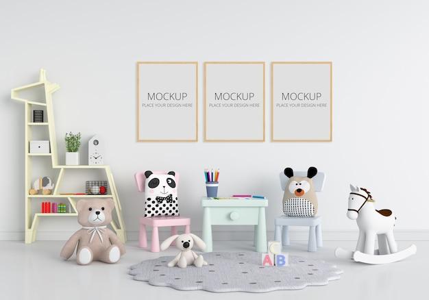 프레임 모형이있는 흰색 어린이 방