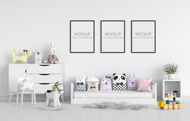 모형을위한 흰색 어린이 침실