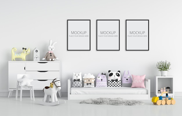 White children bedroom for mockup