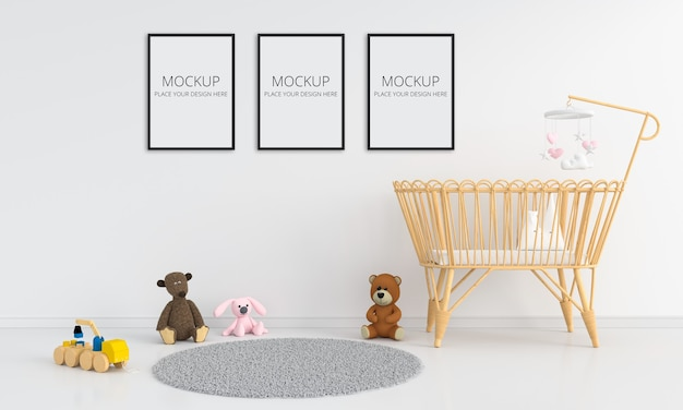 White children bedroom with frame mockup