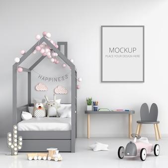 フレームモックアップと白い子供の寝室