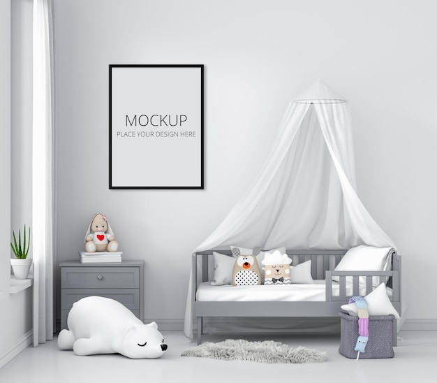 White children bedroom with frame