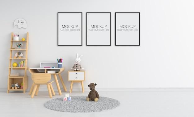 モックアップのための白い子供部屋のインテリア