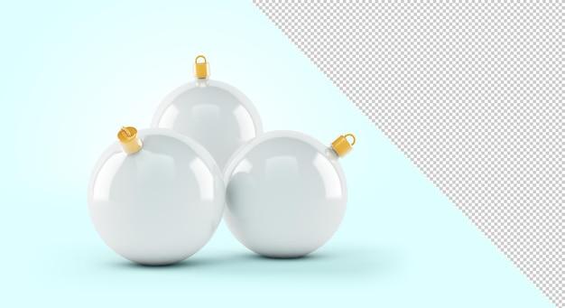 青い背景の上の白いクリスマスボールのモックアップ