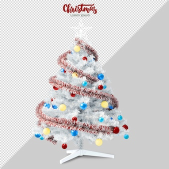 White christmas tree in 3d rendered isolated