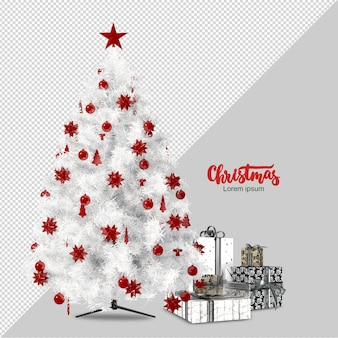White christmas tree and gifts 3d rendered isolated