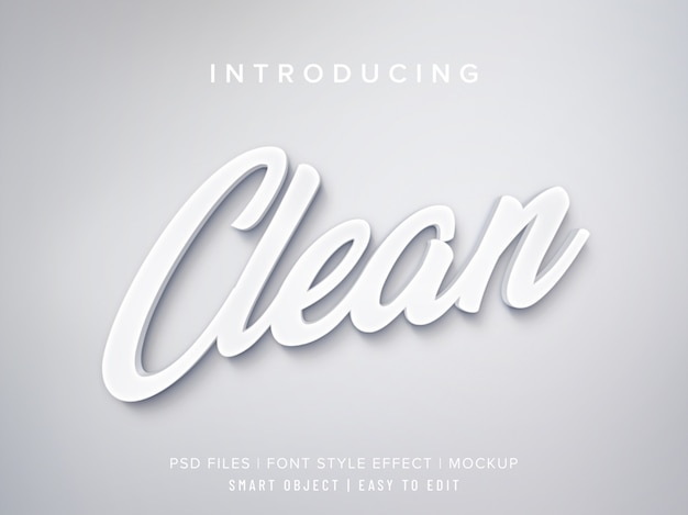 White clean 3d font style effect mockup