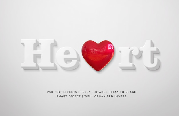 White clean heart 3d text style effect template