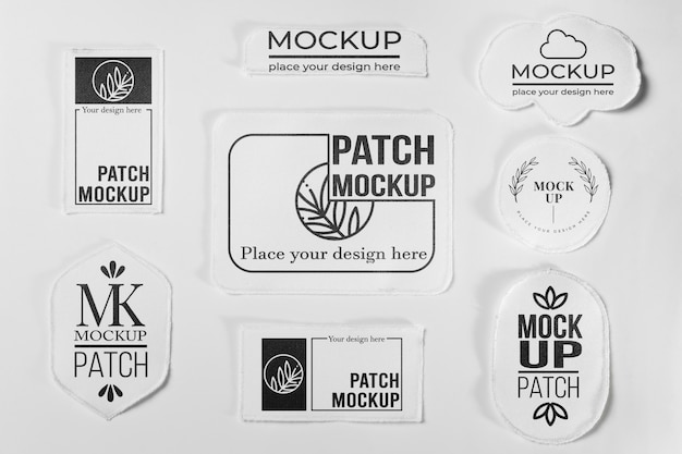 White clothing patch collection