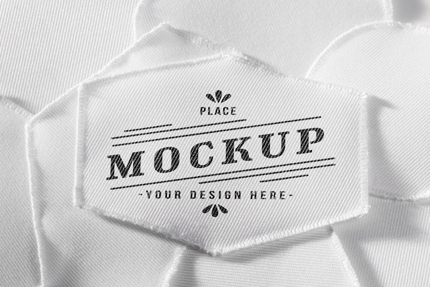 White clothing patch fabric mock-up