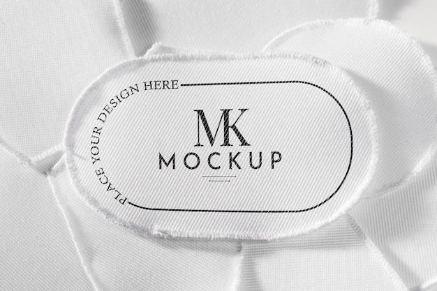 Белый макет ткани нашивки одежды Premium Psd