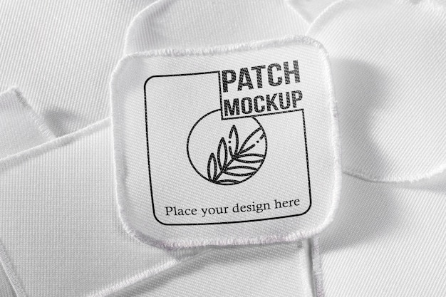 White clothing patch textile mock-up