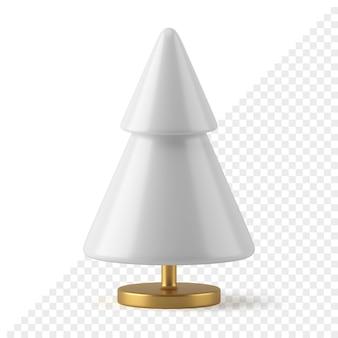 白い円錐形のクリスマスツリーの3dレンダリング。ゴールドスタンドのミニマルな装飾オブジェクト。 2つの階層要素を備えたモダンなお祝いの新年のデザイン。伝統的なシンボルの幸せな休日。