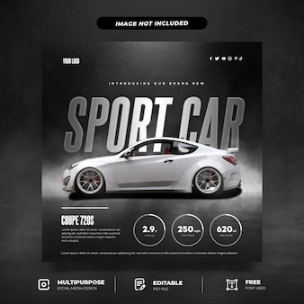 White coupe introduction social media template