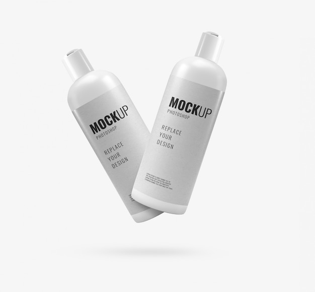 White cream bottles mockup
