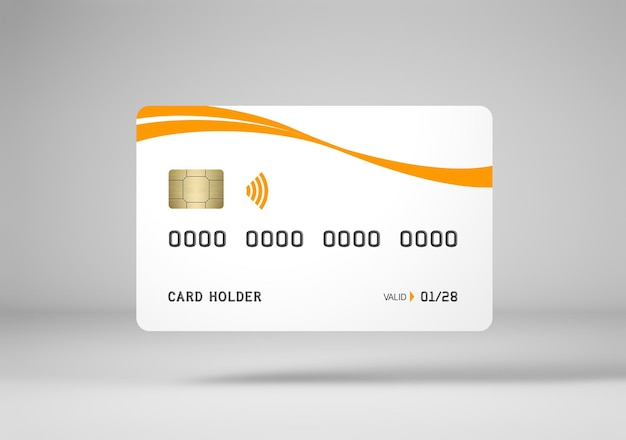 Белый макет кредитной карты 3d-рендеринга