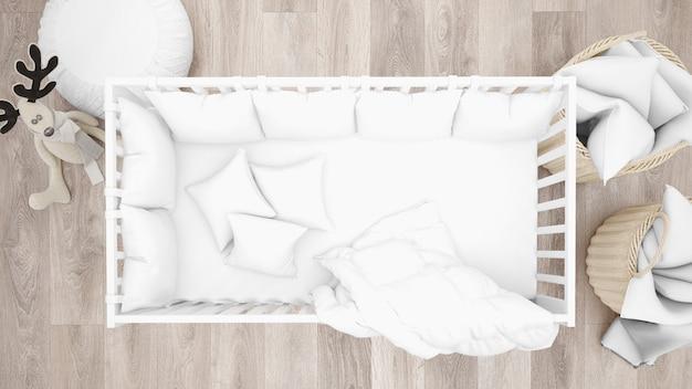 Белая кроватка в очаровательной детской комнате, вид сверху