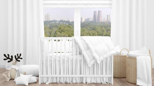 Белая кроватка в очаровательной детской комнате