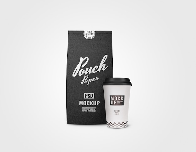 White cup and black sachet mockup