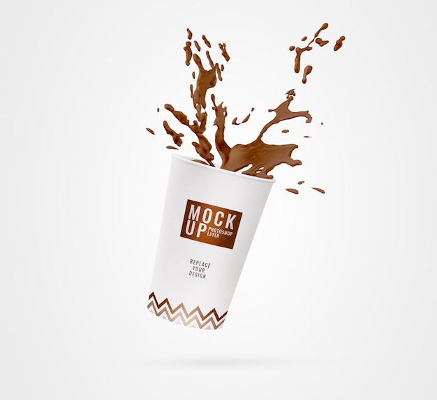 White cup coffee splash mockup