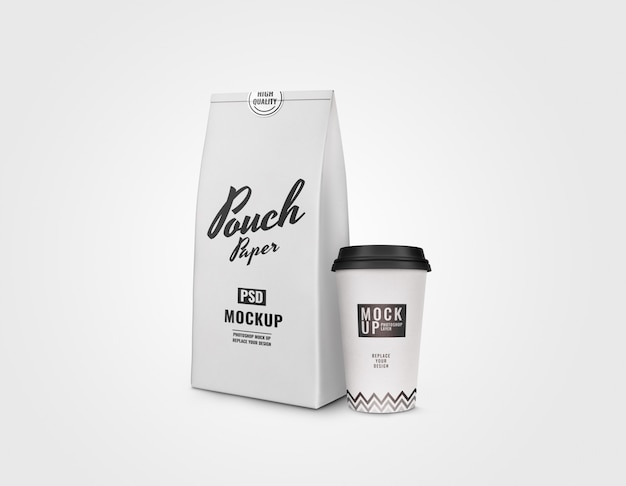 White cup and pouch mockup