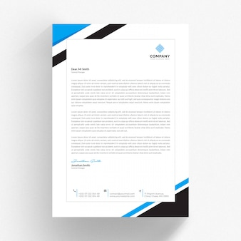 White cv template with blue and black details