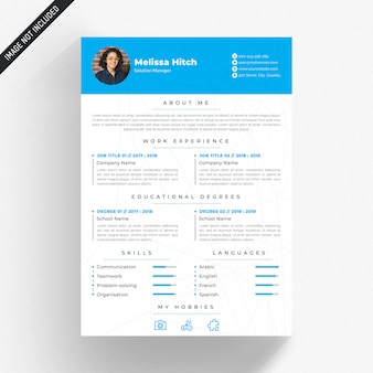White cv template with blue details