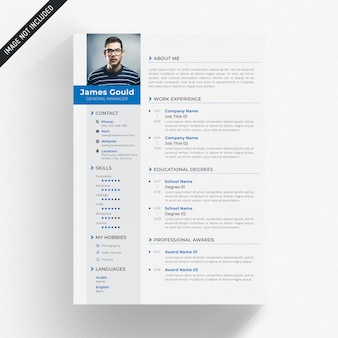 White cv template with blue and grey details