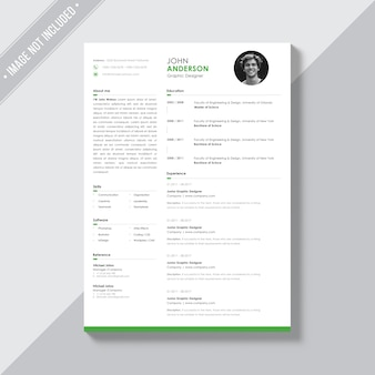 White cv template with green details