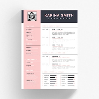 White cv template with pink and black details