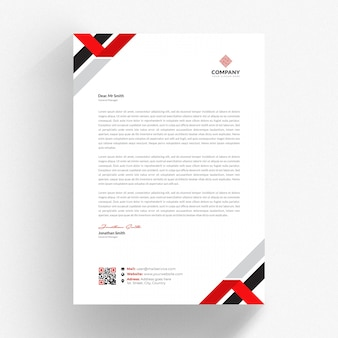 White cv template with red and black details
