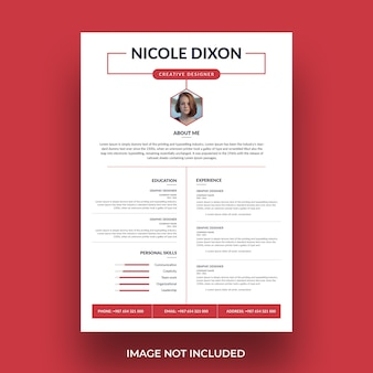 White cv template with red