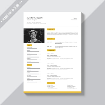 White cv template with yellow details