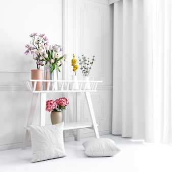 White decorative furniture with beautiful plants and pillowcases mockup