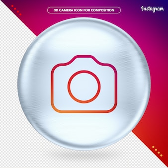 White ellipse with camera instagram icon