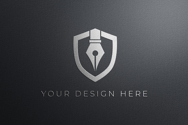 白いエンボス壁のロゴのモックアップ