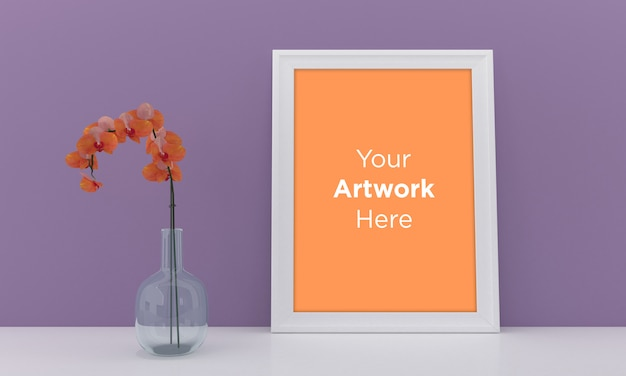 White empty photo frame mockup design with crystal glass vase