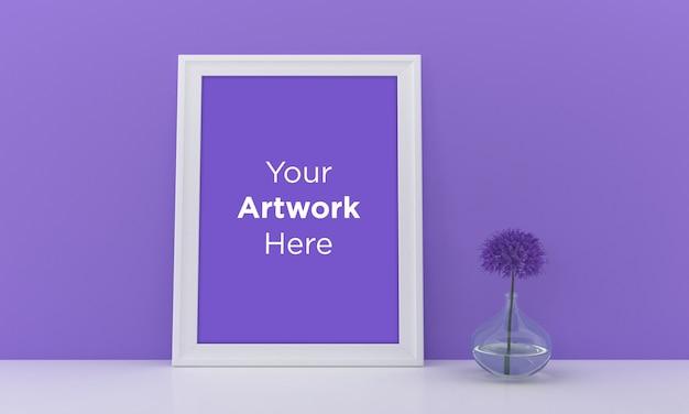 White empty photo frame mockup design