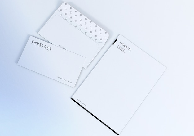 White envelope and letterhead design mockup