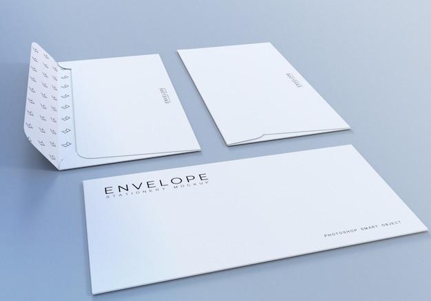 プレゼンテーション用の白い封筒モックアップデザインテンプレート
