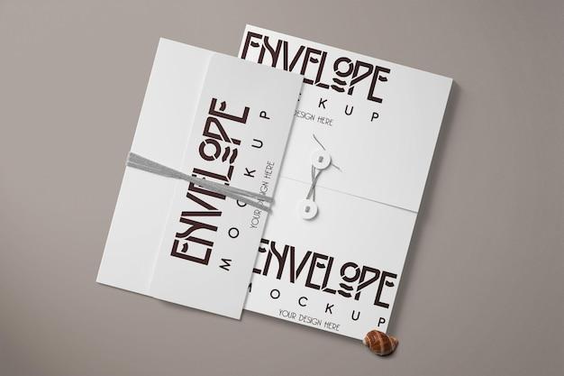 白い封筒のモックアップ テンプレート