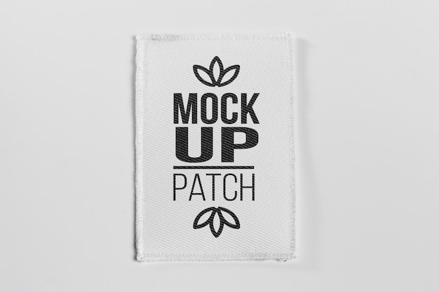 White fabric clothing patch mock-up