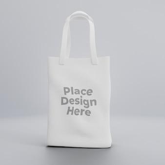 White fabric realistic tote bag mockup