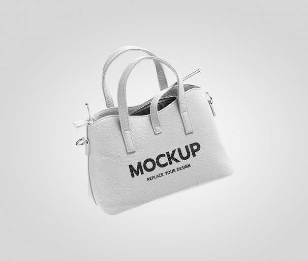 Белая модная сумка макет