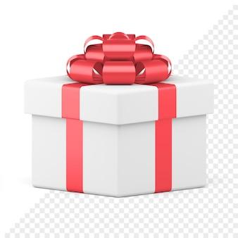Белая праздничная подарочная коробка с красным сияющим бантом, изолированным на белом. креативный пакет с лентой и роскошным узлом. подарите сюрприз на новогодние и праздничные мероприятия. объект для продажи баннер или открытка.
